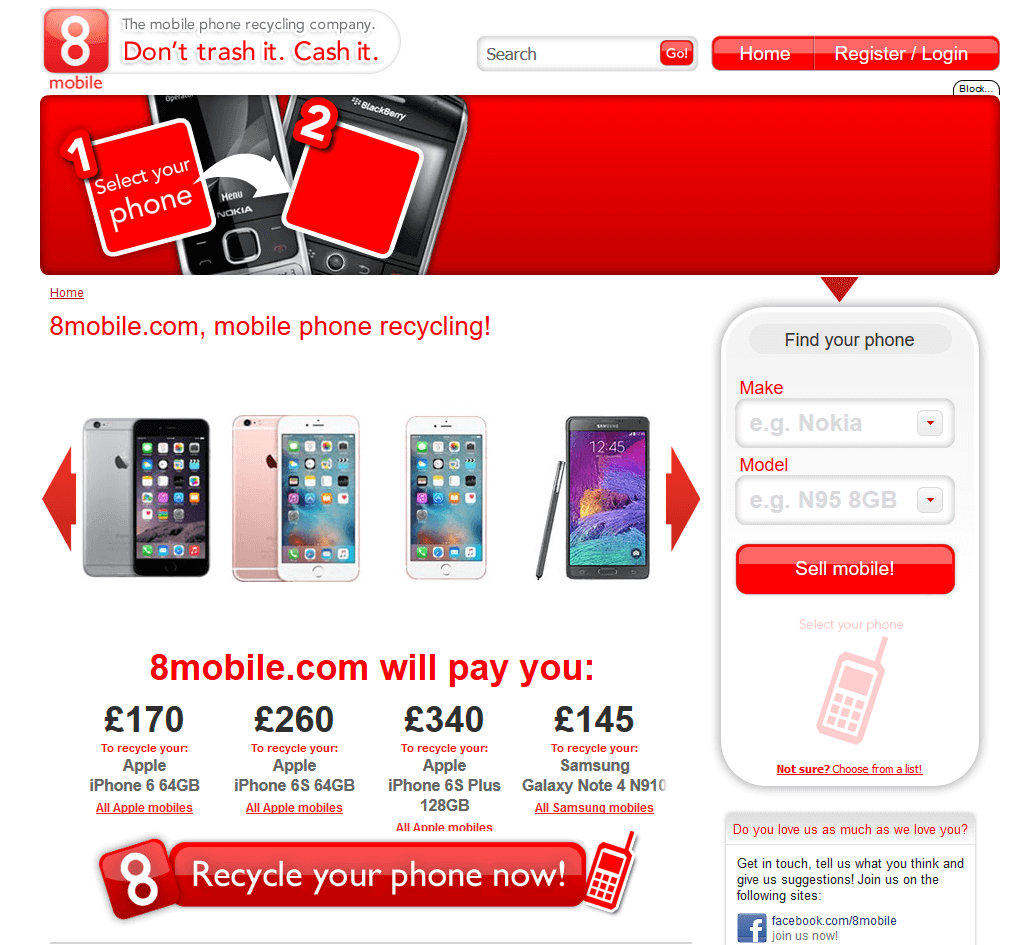 Visit 8 Mobile to recycle your  mobile or tablets for cash with sell any mobile