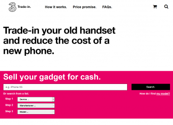 Visit Three Trade In to recycle your  mobile or tablets for cash with sell any mobile